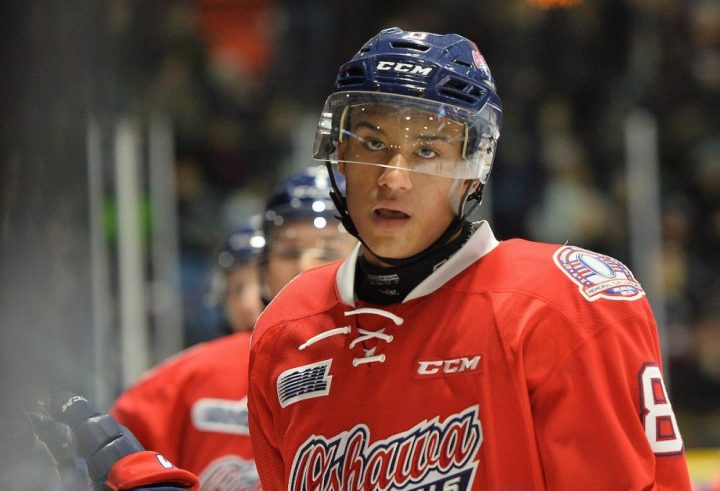 Serron Noel of the Oshawa Generals. Photo by Terry Wilson / OHL Images.