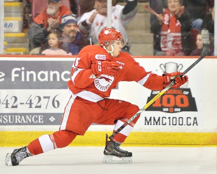 Morgan Frost of the Sault Ste. Marie Greyhounds. Photo by Terry Wilson / OHL Images.