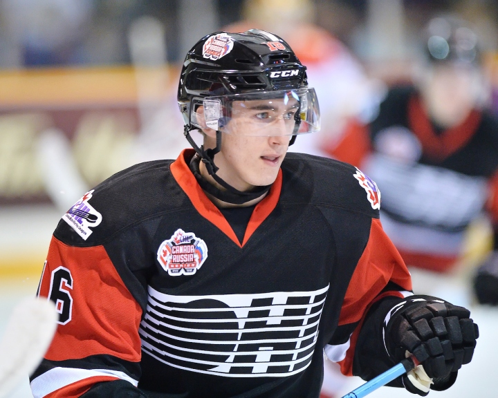 Michael McLeod of the Mississauga Steelheads represented Team OHL in Game 3 of the 2015 Canada - Russia Series in Owen Sound, ON on Thurs. Nov. 12, 2015. Photo by Terry Wilson / CHL Images.
