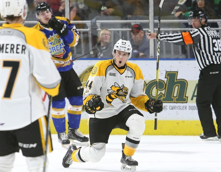 Jacob Perreault of the Sarnia Sting. Photo by Luke Durda/OHL Images
