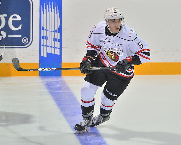 Sean Durzi of the Owen Sound Attack. Photo by Terry Wilson / OHL Images.