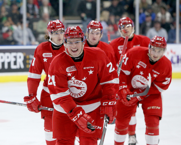 Cole MacKay of the Sault Ste. Marie Greyhounds. Photo by Luke Durda/OHL Images