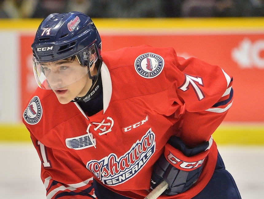 Tyler Tullio of the Oshawa Generals. Photo by Terry Wilson / OHL Images.