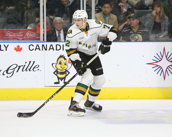 Alec Regula of the London Knights. Photo by Luke Durda/OHL Images